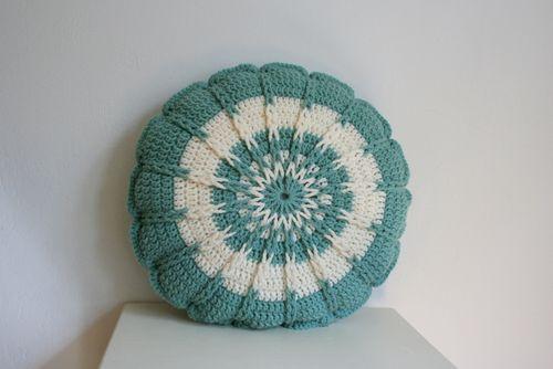 Crochet Round Pillow - Teal (3)